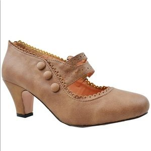 ⭐️ Women's Button Retro Mary Jane Mid Heel Dress